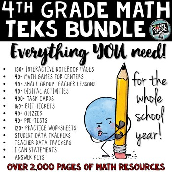 4th grade math TEKS Year Long Bundle ALL math standards included!