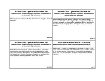 4th grade math common core cards