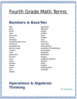 4th grade math terms