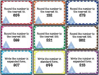 4th grade mini math task cards
