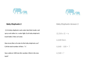 Treasure Hunt Baby Elephant word problems 3 tables