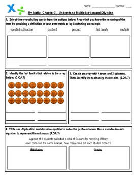 4th grade my math test Chapter 3—Understand Multiplication and Division