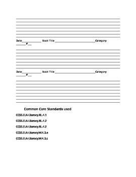 4th grade reading log, Common Core aligned
