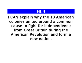 4th grade social studies I CAN statements
