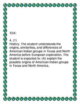 4th grade Social Studies TEKS (Back to School)