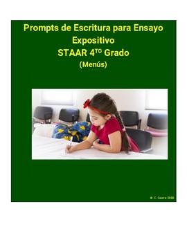 4th grade writing prompts menus in Spanish