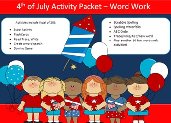 4th of July, 20 word packet-20 activities of NO PREP word work-40 pages