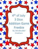 4th of July 3  Addition Fluency Game ~ Freebie