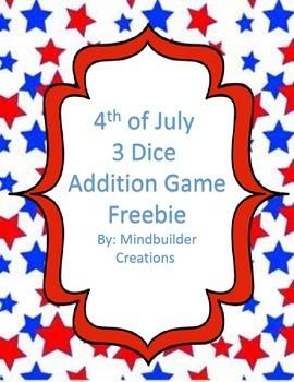 4th of July 3  Addition Fluency Game ~ Freebie