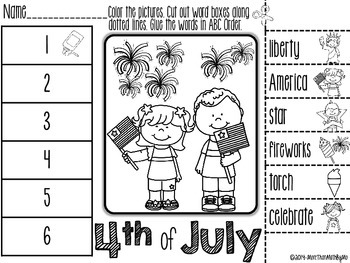 4th of July ABC Order Cut and Paste FREEBIE
