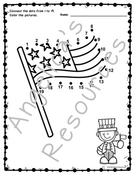 4th of July Activities : Number Sense - Dot to Dot - Counting - Just Print & Go