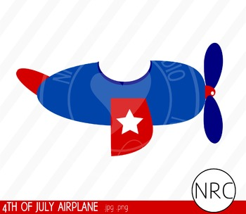 4th of July Airplane Clip Art - Commercial Use Clipart