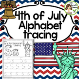 4th of July Alphabet Tracing pages