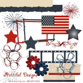 4th of July America Red White and Blue Clip Art