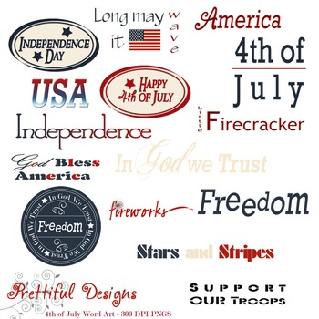 4th of July America Red White and Blue Word Art ClipArt