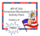 4th of July American Revolution Activity Pack Grades 4-8