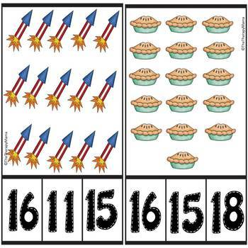 4th of July BBQ Counting Number Clip Cards 1 - 20 No prep Math Center Cards