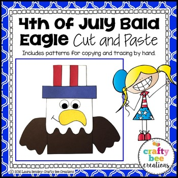 4th of July Bald Eagle Cut and Paste