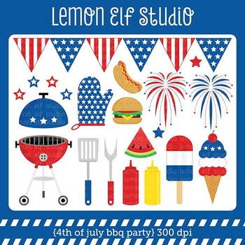 4th of July Bbq Party-Digital Clipart (LES.CL40)