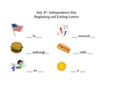 4th of July - Beginning and Ending Sounds