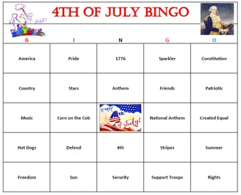 4th of July Bingo Game- 60 Cards Printable