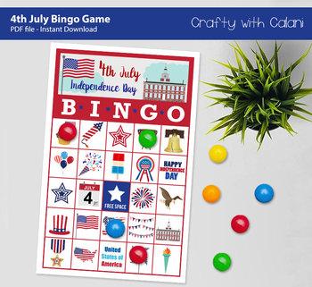 4th of July Bingo & Memory Game, Patriotic Themed Bingo Game Printable