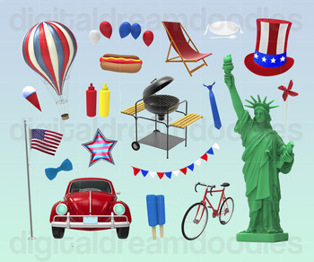 4th of July Clip Art - Independence Day Digital Graphics