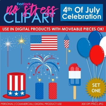 4th of July Clip Art Set 1 (Digital Use Ok!)