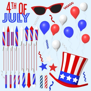 4th of July Clip Art, Summer Clipart, American Graphics