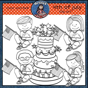 4th of July Clip art set- FREE! Color and B&W