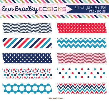 4th of July Clipart Bundle - Digital Washi Tape Graphics