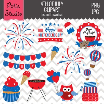 4th of July Clipart // Independence Day Clipart // America Clipart - EV113