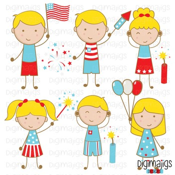 4th of July Clipart Set, Independence Day Clipart, Fireworks Graphics,