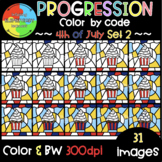 4th of July Color by Code ❤️Progression Digital Clipart❤️SET 2