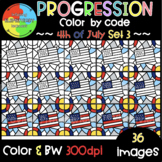 4th of July Color by Code ❤️Progression Digital Clipart❤️SET 3