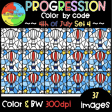 4th of July Color by Code ❤️Progression Digital Clipart❤️SET 4