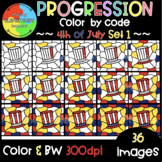 4th of July Color by Code ❤️Progression Digital Clipart❤️SET1