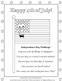 4th of July Coloring Page & Question Challenge