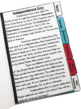 4th of July Comprehension Flip Book Activities- 2nd & 3rd grade