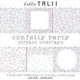 4th of July Confetti Sprinkles- Clipart Overlays + Digital Papers
