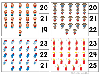 4th of July Count & Clip 1- 30 Task Cards {Independence Day}