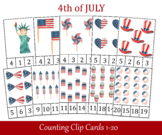 4th of July Count and Clip Cards, Number 1 - 20, USA Independence Day Flashcard