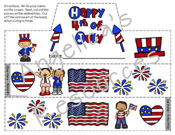 4th of July : Crowns and Wristbands - Fourth of July Craftivity