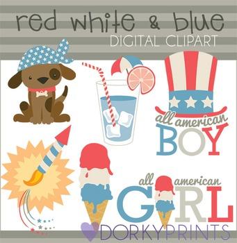 4th of July Digital Clip Art Set