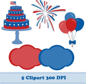 4th of July Digital Paper + Clipart