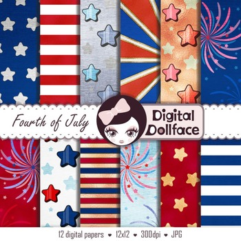 4th of July Digital Paper, Independence Day, Stars and Stripes