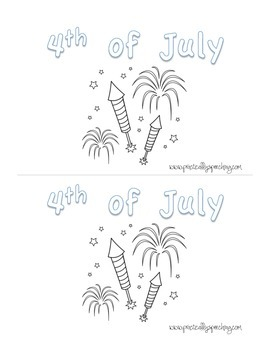 4th of July Emergent Reader cut and color