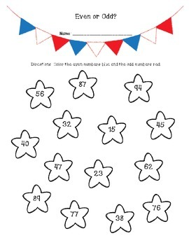 4th of July Even and Odd Number Freebie