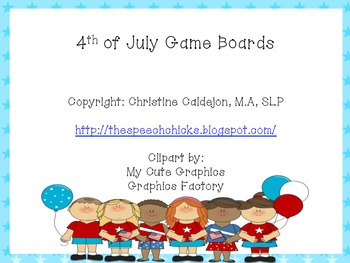 4th of July Game Boards