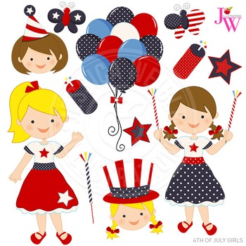 4th of July Girls Cute Digital Clipart, Patriotic Graphics